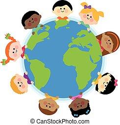 globe., ábra, vektor, földdel feltölt, különböző, gyerekek, mindenfelé