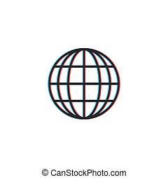 globe., részvény, illusion., eltolódás, ábra, háttér., fehér, látási, vektor, szín, elszigetelt
