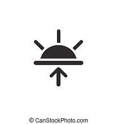 glyph, időjárás, vektor, ábra, icon., sunrise.
