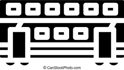 glyph, tehervagon, double-deck, vektor, ábra, ikon