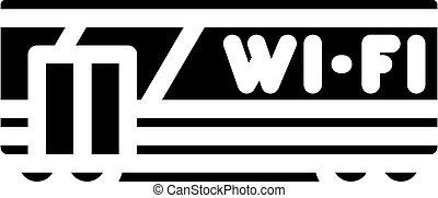 glyph, wifi, tehervagon, vektor, ábra, ikon