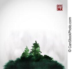 go-hua., stilizált, hieroglifa, zen., tinta, -, zöld, sóvárog, hagyományos, lemos, keleti, bitófák, mist., sumi-e, fekete, festmény, u-sin, hegy