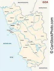 goa, vektor, india, térkép