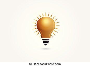 gold láng, jelkép, gondolat, kreatív, vektor, gumó, logo.
