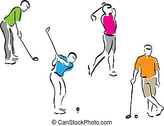 golf, állhatatos, -, férfiak