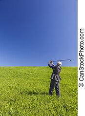 golf, ügy, mező, zöld, üzletember, játék, ember