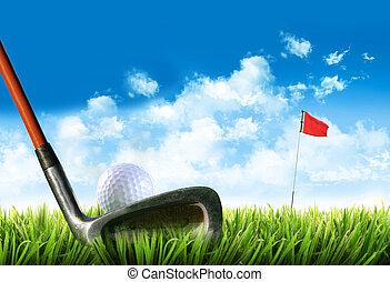 golf labda, fű, elkezdődik