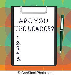 golyós vég, fogalom, ív, csipeszes írótábla, ügy, leaderquestion., szöveg, társaság, space., írás írás, dolgozat, bevétel, vezetés, tiszta, szó, ön, kötvény, csattant, bemutat, törődik