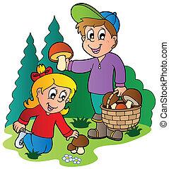 gombák, feltörés, gyerekek, feláll