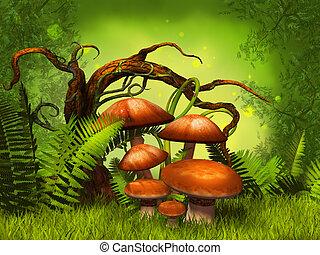 gombák, képzelet, erdő
