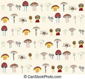 gombák, motívum, seamless