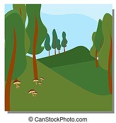gombák, parkosít., fa., hegyek, nyár, eredet, forest., táj, kék, hills., vektor, sky., ábra