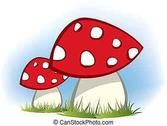 gombák, piros