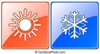 gombok, évad, hópehely, nap