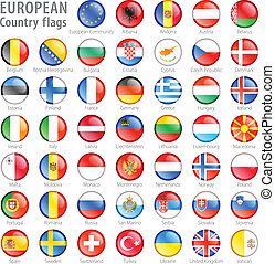 gombok, nemzeti, állhatatos, lobogó, európai