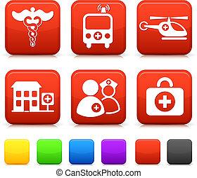 gombok, orvosi, derékszögben, internet icons