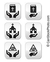 gombok, vallás, biblia, -, kézbesít