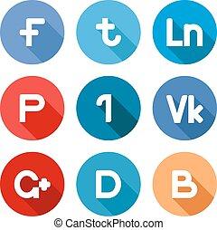 gombok, vektor, hálózat, társadalmi