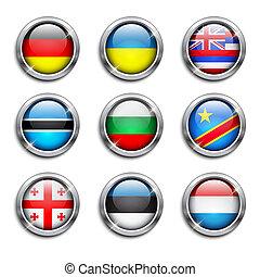 gombok, világ, zászlók, kerek