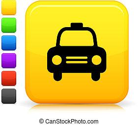 gombol, derékszögben, ikon, taxi, taxi, internet