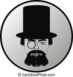 gombol, fekete, retro, portré, kalap, tető, ember