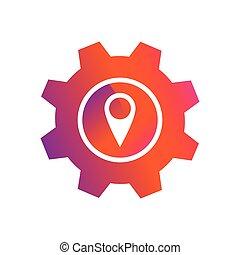 gombol, gombostű, elhelyezés, beállítás, vektor, ikon