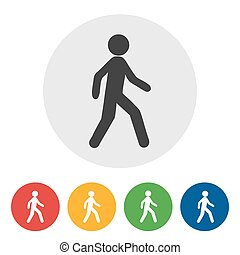 gombol, gyalogló, internet icon, kerek