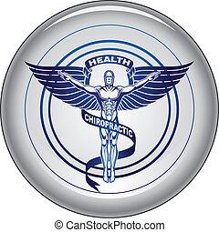 gombol, ikon, hátgerincmasszázzsal gyógyító, jelkép, vagy