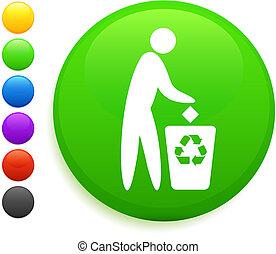 gombol, ikon, kerek, újra hasznosít, internet