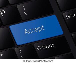 gombol, keyboard., elfogad, fogalom, ábra