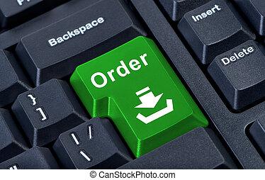 gombol, számítógép, zöld, parancs, keyboard.