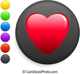 gombol, szív, ikon, kerek, internet