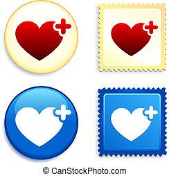 gombol, szív, orvosi, bélyeg