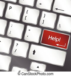 gombol, vektor, laptop, segítség, billentyűzet