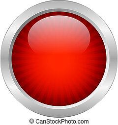 gombol, vektor, piros