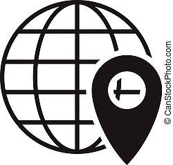 gombostű, földgolyó, vektor, elhelyezés, icon., geo, cégtábla.