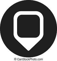 gombostű, ikon, elhelyezés, vektor