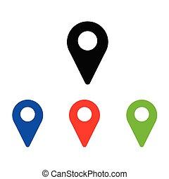 gombostű, vektor, fekete, elhelyezés, geo, kerek, ikon