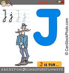 gondnok, j, betű, karikatúra, levél