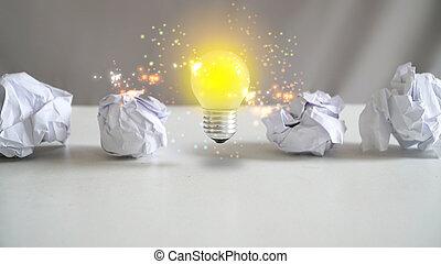 gondolat, fény, bulb., kreatív, fogalom