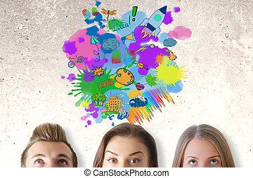 gondolat, fogalom, kreatív, ügy
