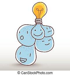 gondolat, gumó, fény