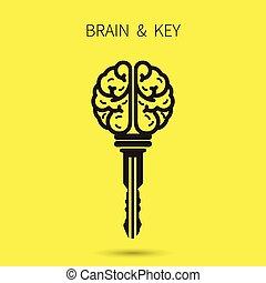 gondolat, success., ügy, concept., jelkép., aláír, agyonüt, kulcs, oktatás, kreatív