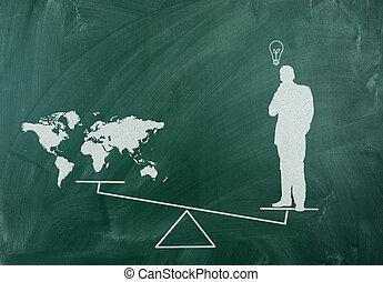 gondolat, világ, jottányi, mint, nagyobb, ember