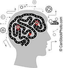 gondolkodás, agyonüt, lenyomtat, emberi