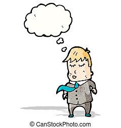 gondolkodás, ember, buborék, karikatúra, illeszt