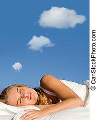 gondolkodás, panama, nő, ábrándozás, alvás