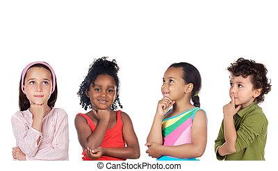 gondolkodó, csoport, multiethnic, gyerekek
