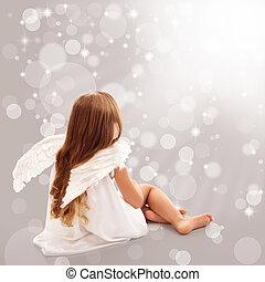 gondolkodó, fény, kevés, isteni, angyal