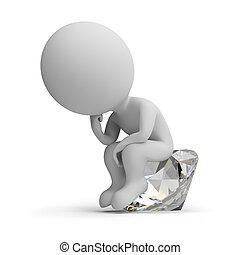 gondolkodó, gyémánt, -, 3, emberek, kicsi